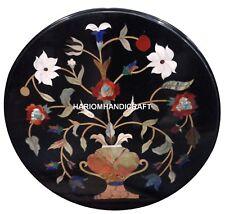 Marble Black Coffee Top Inlaid Table Marquetry Pietradura Furniture Garden H2481