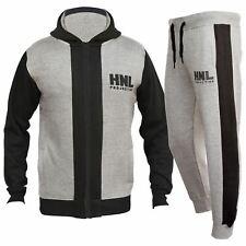 Kids Boys Girls HNL Projection Tracksuit Grey Zipped Top Bottom Jogging Suits