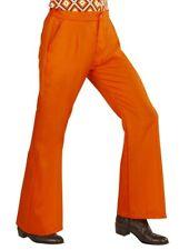 60's 70s Groovy Orange Retro Disco Flare Trousers Mens Fancy Dress  S- XL