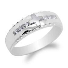 Cross Fancy Band Ring Size 8-12 JamesJenny Mens 14K White Gold Round Cz