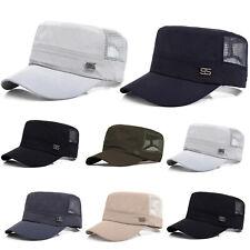 Mens Women Army Military Plain Adjustable Sun Mesh Cadet Outdoor Solid Cap Hat