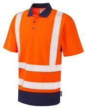 Leo Workwear mortehoe p11 Hi Vis Polo Classe 2 SNICKERS diretto Navy Arancione