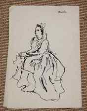 Dessin Charles Kiffer (1902-1992) étude costume espagnol flamenco env 1960 1