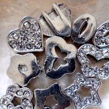 2 PERLES MÉTAL & STRASS - Plates épaisses - Trou rectangle pour bracelet plat
