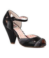 Bettie Page Shoes Marlee High Heel Retro Black Grey Peeptoe
