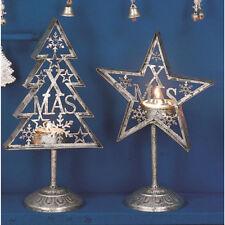 """Hoff Interieur 7751 Kerzenleuchter """"XMAS"""" Metall mit Teelichteinsatz Baum Stern"""