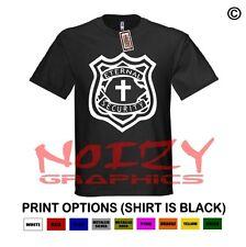 Eternal Security Christian Shirt Black T-Shirt Jesus Cross Faith Badge Religious