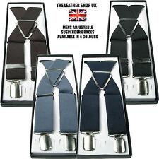 "UK Stylish 1.5"" inch 40mm Elasticated Plain 4 Clip Braces Adjustable Suspenders"