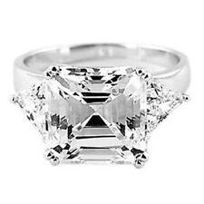 Silver 7.5 Cttw Asscher and Trillion Cut Past Present Future Cz Engagement Ring