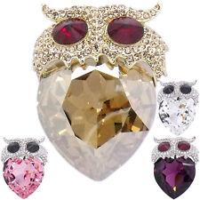 Luxury Owl Night Bird Heart Figural Brooch Pin Austrian Crystals Jewelry Party