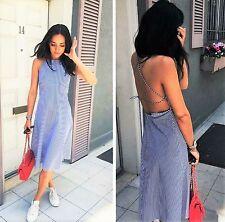 ZARA STUDIO Poplin Stripe Strappy Back Midi Dress Sundress Blue White M Medium