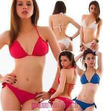 Bikini donna costume da bagno mare triangolo perline due pezzi nuovo SE415