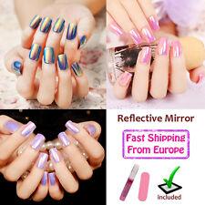 24Pcs Reflective Mirror PreDesign Artificial False Fake Nail MANICURE Full long