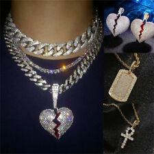 Diamond Bling Twist Link Chain Tag Pendant Broken Heart Necklace Jesus Cross