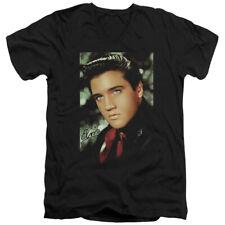 Elvis Presley Slim Fit V-Neck T-Shirt Dreamy Portrait Black