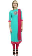 Readymade Vert Georgette Longue Churidar Droite Costume Kameez Casual