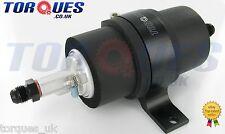 Walbro GSL392 255LPH Fuel Pump + Billet Cradle + AN-6 (JIC -6) Adapters In Black
