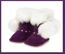 Gymboree Fair Isle Sparkle Snowflake Purple White Faux Fur Pom Pom Boots 6 NWT