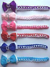 Handmade Grosgrain Ribbon Spring Sch Christening Bow Hair Bun Wrap with Buckle