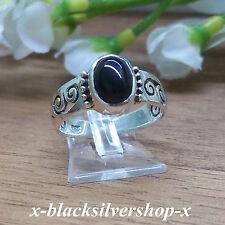 Damen Ring Silber 925 - schwarzer Stein Jugendstil Gothic Keltisch mit Ringetui