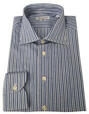 BRANCACCIO camisa de hombre blanco/azul 100% algodón ajustado