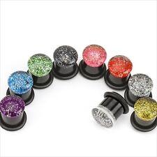 1-PAIR Glitter Top Black Single Flare Ear Plugs W/ O-Rings Gauges