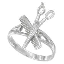 Sterling Silver High Polished Barber Shop Comb & Scissors Ring