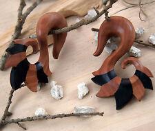 Two Toned Black Ebony/Sono Wood Spiral Ear Plug Gauge Hanger Hand Carved 0g-7/8g