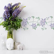 Clematis Flor Estarcido Floral reutilizable Decoración Hogar Plantillas la