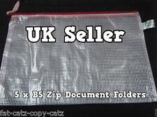5x PLASTIC ZIPPY BAGS B5 SIZE FILE STORAGE DOCUMENT ART FOLDERS METAL ZIP UKSELL