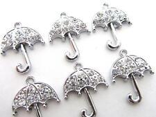 10 Sparkly Unbrella Crystal Rhinestone Silver Plated Charm/Pandent/Bead K71