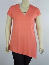 Katies Ladies Cap Sleeve Angled Hem Top size Small Medium Large 1XL Colour Peach
