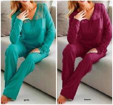 """Retourenware""Schlafanzug Pyjama grün o.beere Gr.36-38-42-42-44-46 Neu 923375/46"