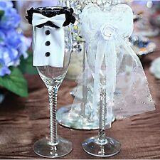 Bride Groom Wedding Glass Cover Decoration Wine Champagne Civil Partner UK