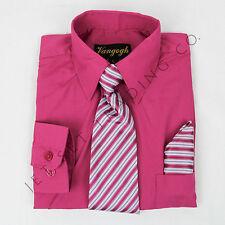 BOYS FUCHSIA DRESS SHIRT WITH MATCHING TIE & HANKIE LONG SLEEVE  Sizes 4 to 20