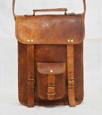 Real leather messenger shoulder laptop handmade brown vintage satchel bag retro