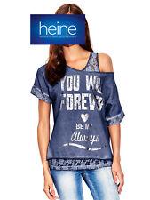 2-in-1-Shirt+Spitzentop mit Schriftzug B.C. heine. blau. NEU!!! KP 39,90 € SALE%