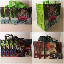 """4 Large Christmas Santa 16.5"""" X 16.5"""" Reusable Eco Shopping Tote Gift Bags"""