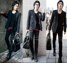 Korean Rivet Black Men's Jeans Pant Punk Fashion Slim Fit Solid Pencil Trousers