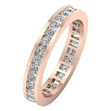 Eternity Engagement Ring VVS1 F 1.50Ct Natural Diamond 14K Rose Gold Channel Set