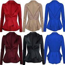 Womens Ladies Smart Fit Casual Office Frill One Button Blazer Peplum Coat Jacket