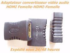 UN HDMI FEMELLE HDMI FEMELLE RELIE 2 CÂBLES HDMI ADAPTATEUR STANDARD VIDÉO AUDIO