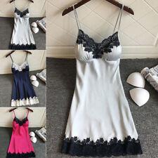 Female Lace Nightdress Lingerie Sleepwear Sexy Pajamas Mini Sling Sleepdress 6A