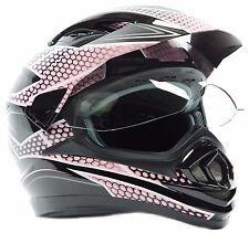 Dual Sport Street Helmet Motocross Motorcycle MX ATV Dirt Adult DOT Pink