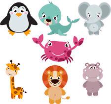 FUN SMILING ANIMALS 3 STICKERS CHILD KIDS VINYL DECAL BATH WALL LAPTOP WINDOW
