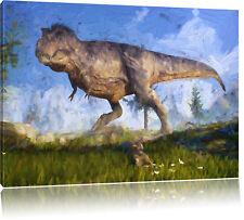 T-Rex Dinosaurier in der Natur Kunst Pinsel Effekt Leinwandbild Wanddeko Kunstdr