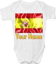 SPAIN'S SPANISH FLAG PERSONALISED BABY VEST / GRO /BODYSUIT *GREAT GIFT & NAMED*