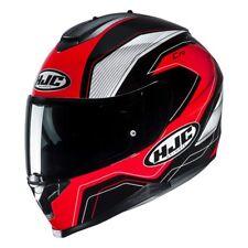 hjc c 70 lianto grafica lucido nero bianco rosso casco integrale metal