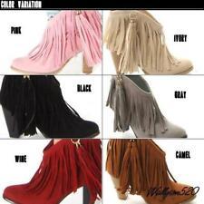 Women's ankle boots Faux Suede  Fringe Tassels Western cowboy Boots Shoes #8-19