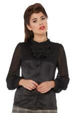 Blusa vintage negro Pin up Amie sheer polka dot blouse Voodoo Vixen TPA1731